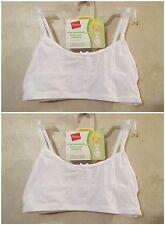 NWT Girls HANES M White Crop Top Pullover Cotton Spandex Training Bra~4 Bras