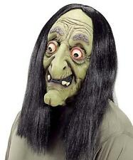 Old Woman Witch Mask With Black Wig Halloween Fancy Dress