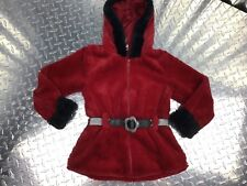 Little Lass Jacket Red & Black Belted Swing Coat With Soft Cuffed Sleeves & Hood