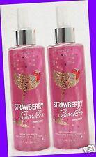 2 Bath & Body Works STRAWBERRY SPARKLER Fragrance Mist Body Spray JASMINE MANDAR