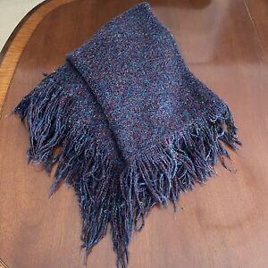 "Kennebunk Weavers Hand Woven Purple Tones Soft Fringe Throw Blanket 44"" X 64"""