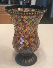 Partylite Global Fusion Hurricane Mosaic Stained Glass Candle Holder Lamp P8366