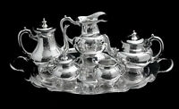 MEXICAN 6pc ANTIQUE 930 STERLING SILVER TEA / COFFEE SET + TRAY, 1900-1940