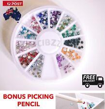 Nail Art Rhinestone Crystal Beads Wheel Beauty  Tool Mixed Color Gems + BONUS