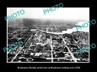 OLD LARGE HISTORIC PHOTO OF BRADENTON FLORIDA, AERIAL VIEW OF THE CITY c1930