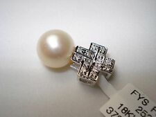 18K diamond culture pearl pendant