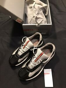PRADA AMERICAS CUP LOW TOPS BLACK GRAY US SIZE 11.5 SNEAKERS SHOES ALL AUTHENTIC