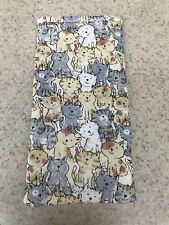 Eyeglass / Sunglass Soft Fabric Case - Neutral Shades - Small Kitty Cats - Cute!