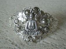 Silver Buddha Cuff Bracelet, buddhist zen boho bohemian hippie new age buddhism