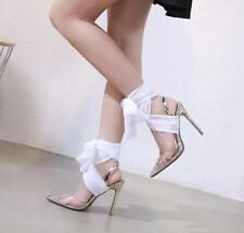 UK Women Rhinestones Ankle Strappy Clear Pointed Toe Sandals Stiletto Heel Shoes
