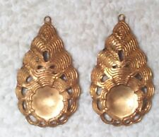 VINTAGE OPEN CUT WORK DETAILED BRASS STAMPINGS DROPS WITH INDENT & RING 8 PCS