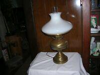 Vintage Hurricane  Table Lamp Milk Glass Shade Metal base Design 3 Way Switch