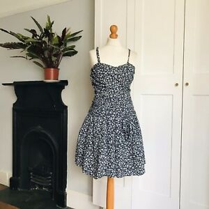 Vtg 80s Navy Blue White Ditzy Floral Print Ruched Strappy Flare Ra-Ra Dress 8 10