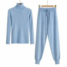 Women Turtleneck Knitted Tracksuit Sweater Casual Sporting Suit Two Piece Set