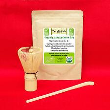 70g Organico Matcha Tè Verde Polvere PLUS BAMBOO frusta e scoop, Premium, Set,