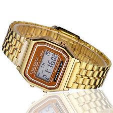 Retro Armbanduhr Digital Metall Vintage 80er Jahre GOLD LED Alarm Stopp Uhr
