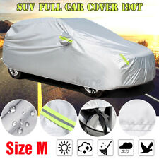 SUV Car Cover Waterproof Dust UV Sun Protection Outdoor w/ Reflective Strips M