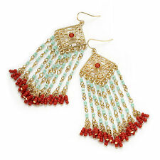 gold colour turquoise and coral effect beaded dangling earring boho 30098