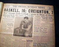 RED GRANGE Illinois Running Back in Last COLLEGE FOOTBALL Game in 1925 Newspaper