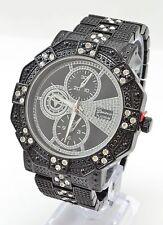 Men's Chunky Black Jet Cubic Zirconia 3 eyes Geneva PLATINUM Wrist Watch #891