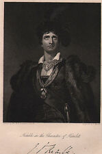 1844 GEORGIAN DATED PRINT KEMBLE IN CHARACTER OF HAMLET WITH FACSIMILE AUTOGRAPH