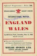 WALES v ENGLAND SCHOOLS UNDER 16 March 13th 1948 RUGBY PROGRAMME, CARDIFF