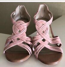 SEYCHELLES Anthropologie Pink Suede Strappy Back Zip Sandal Heels 8.5 NEW