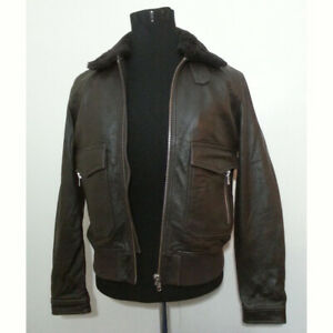 The Kooples Brown Leather Bomber Jacket Size M (20x23x25) Detachable Fur Collar
