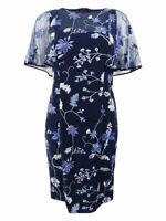 Lauren by Ralph Lauren Women's Embroidered Floral-Print Dress (2, Navy Multi)