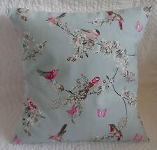 "16"" Cushion Cover Duck Egg Blue Pink Bird Shabby Chic Print Handmade New 40cm"