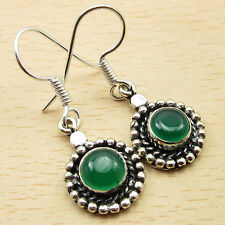 Earrings 1 3/8 Inches Brand New Green Onyx Authentic Jewel, 925 Silver Overlay