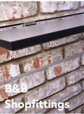 GREY BLACK HIGH IMPACT SLATWALL SHELF CHROME BRACKETS ATTACHED LONG 1200  225 mm