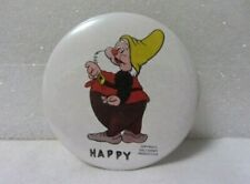 Walt Disney Snow White'S Dwarf Happy Button Pin Pinback Round Badge