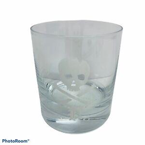 """Polo Ralph Lauren Skull Crossbones Drink Glass Bar Rocks Whiskey 3.75""""T 3.25""""D"""