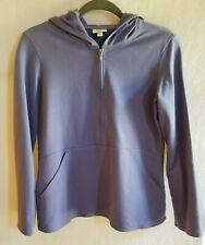 J Jill Hoodie Hooded Sweatshirt Size Small 1/2 Zip Cotton Purple Lavender Pocket