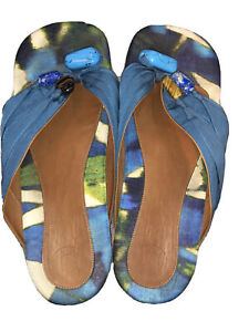 Dries Van Noten Blue Size 9.5 Sandals Blue Silk Tigers Eye Turquoise Lapis