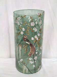 """LARGE GREEN GLASS VASE WITH CHERRY BLOSSOM BIRD TRANSFER PRINT 11.5"""""""