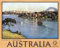 "Vintage Illustrated Travel Poster CANVAS PRINT Sydney Harbour Australia 8""X 10"""