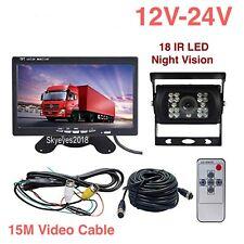 "4Pin 7""LCD Screen Monitor+Car Bus Truck RV Parking Rear View Reverse Camera Kit"
