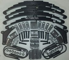 """4 @ 3,000 lb springs with u-bolts and hanger kit for 3"""" round 10-12k lb trailer"""