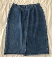 Vintage Venezia Denim Maxi Skirt Plus Size 26 Long Modest Blue Jean Cotton USA