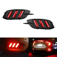 1 Pair Fluid Style Red LED Rear Bumper Reflector Brake Tail Light Lamp for  H7G5