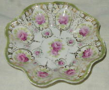 OLD HAND PAINTED JAPANESE, NIPPON PORCELAIN SCALLOPED EDGE BOWL w ROSES & GOLD