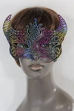Women Men Half Face Eye Costume Mask Black fabric Bull Devil Horns Net Halloween