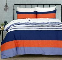 Cotton Queen size Quilt Doona Duvet Cover Set White Blue Rust With Pillowcases