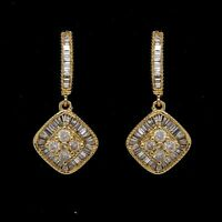 3/4CT Round & Baguette Natural Diamond Dangle Earrings, 10K Solid Yellow Gold