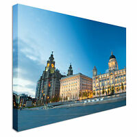Liverpool city centre - Three Graces Canvas Wall Art Picture Print