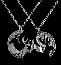 Deer Doe Coin His Her Necklace Set Locking Pendants Love Friends Gift Hunter