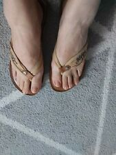 Used Tommy Hilfiger Woman Flipflop Size 6 Beige And Brown