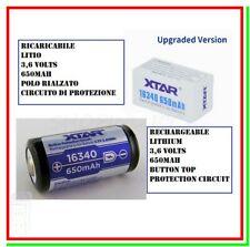Batteria 16340 per Torcia LED Ricaricabile Litio PILA XTAR Rcr123 protetta PCB